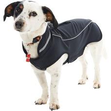 Allwettermantel für Hunde, L: Rücken 46 cm, Hals 44-50 cm, Brust 56-64 cm, dunkelblau/rot