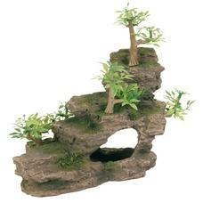 Felsentreppe mit Pflanzen für Aquarium