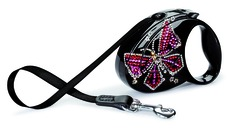 flexi Glam Butterfly Luxus Leine, M, bis 25 kg, schwarz