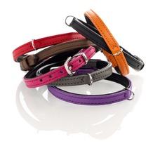 Halsband für kleine Hunde Tiny Petit aus Leder, Hals 19,5 ? 23,5 cm, Breite 0,8 cm, pink