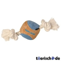Hundespielzeug Ball mit Tau Veloursleder
