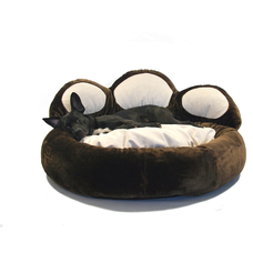 Pfotenbett für Hunde, Ø 110cm, dunkelbraun/ecru