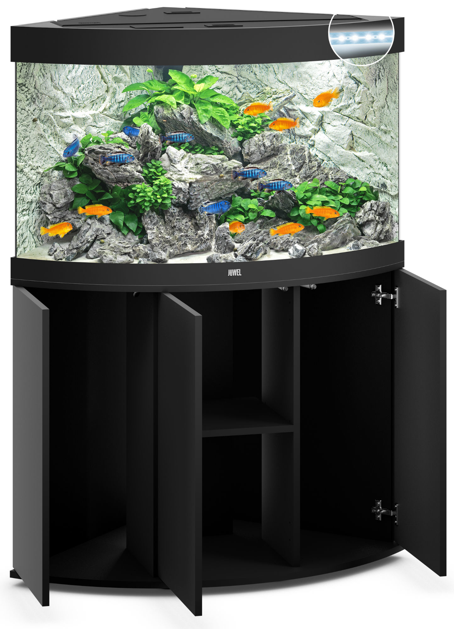 juwel trigon 190 led eck aquarium mit unterschrank ebay. Black Bedroom Furniture Sets. Home Design Ideas