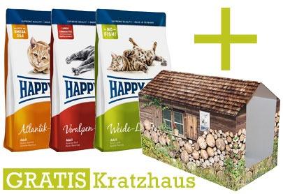 Happy Cat Katzenfutter Kratzhaus Gratis