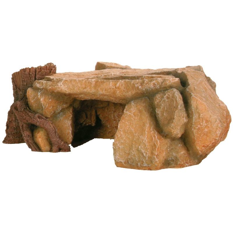 Aquarium Felsen mit Baumstamm Bild 1