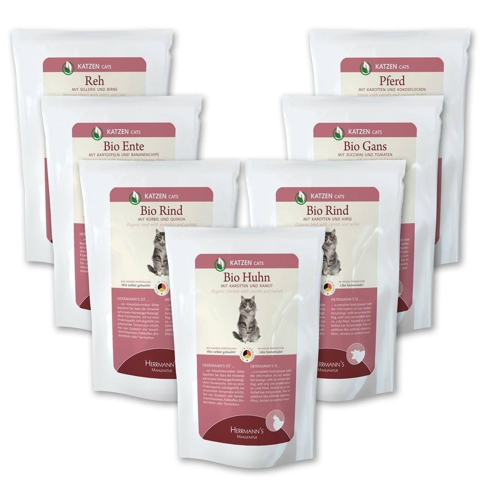 herrmanns bio katzenfutter schlemmerpaket pouch von herrmanns g nstig bestellen bei. Black Bedroom Furniture Sets. Home Design Ideas