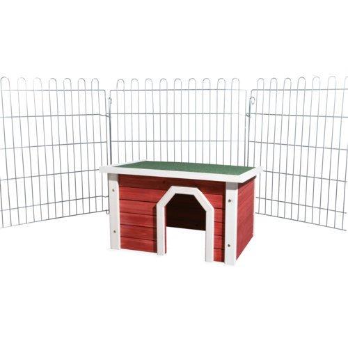 Kleintierhaus aus Holz rot weiß Bild 3