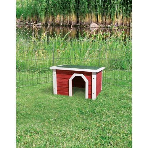 Kleintierhaus aus Holz rot weiß Bild 4