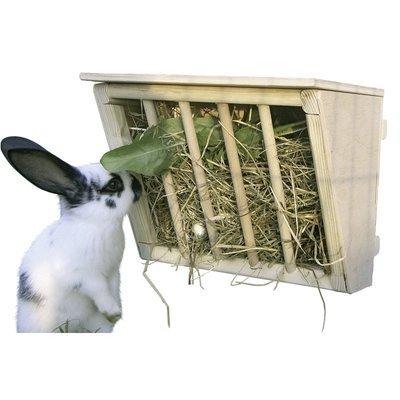 Kerbl Kaninchen Heuraufe aus Holz mit Sitzbrett Preview Image