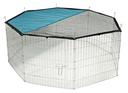 Kleintier Freigehege verzinkt 8 eckig mit Netz und Tür 8 Gitter 57 x 56 cm